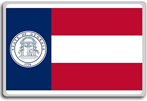 Flag Of The State Of Georgia (1920-1956) - Flags of the U.S. states fridge magnet - 蜀キ阡オ蠎ォ逕ィ繝槭げ繝阪ャ繝