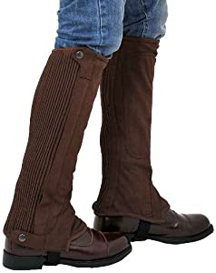 "Riders Trend Washable Amara Suede Half Chaps Black/Brown Adults/Children All Sizes (Black, 3XL = Calf (16-18)"" x Height-18"")"