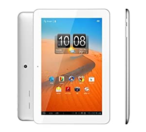 """UPGRADED 10.1"""" Android Tablet IPS Screen 1280x800 HD DUAL CORE 1.6 GHZ Cortex A9 New Google Android Jelly Bean 4.0.4 OS 1GB RAM 8GB Internal Memory ROM HMDI Compatible Skype Netflix Ereader External 3G (WHITE)"""
