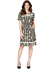 Ladder Neck Abstract Print Shift Dress