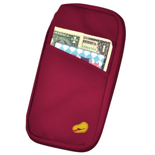 chinkyboo Travel Wallet With Full Closure Zip Document Organiser Passport Ticket Holder Canvas Red