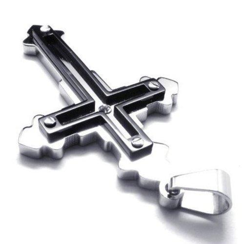 FORESTEEL Gioielli Acciaio inossidabile 2-Tone Black & Silver Cross Ciondolo Collana-2 Catene