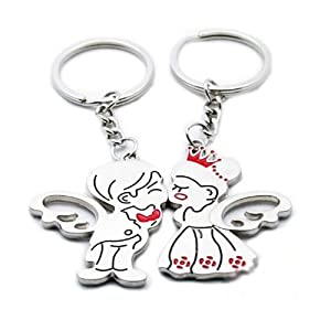 niceEshop(TM) 1Pair x Angel Kiss Couple Metal Magnetic Keychain & Keyring-Silver