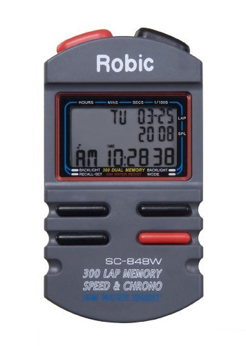 Robic SC-848W 300 Memory Stopwatch with Speed Timer Athletics, Exercise, Workout, Sport, Fitness