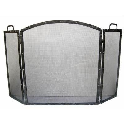 Decorative oil rubbed silver 3 panel fireplace screen for Silver fireplace doors