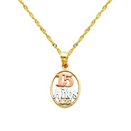 14K 3 Tri-color Gold 15 Años CZ Cubic Zirconia Charm Pendant with Yellow Gold 1.2mm Singapore Chain with Spring Ring Clasp - Pendant Necklace Combination (Different Chain Lengths Available)