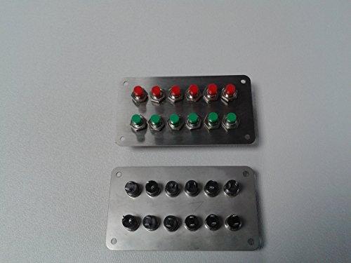 Schalterpanel-12x-Taster-Weichentaster-Edelstahlblende-matt-NEU-sehr-klein