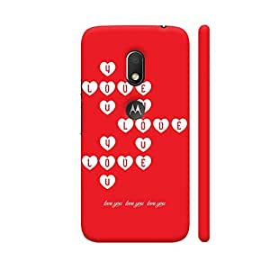 Colorpur I Love You On Red Designer Mobile Phone Case Back Cover For Motorola Moto G4 Play with hole for logo | Artist: Designer Chennai