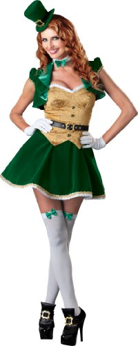 InCharacter Costumes, LLC Lucky Lass Dress, Green/Gold/White, Large