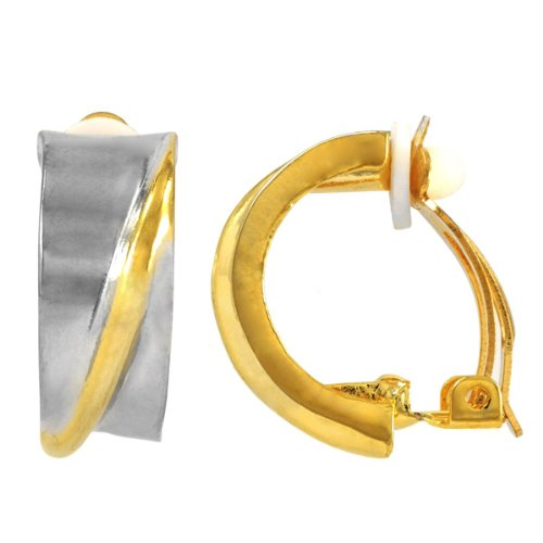 Charlotte's Half Hoop Clip On Earrings - Two Tone