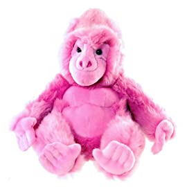 Pink gorilla soft toy