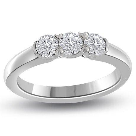0.60 carat 3 Diamond Trilogy Promise Ring for Women. G/VS1 Round Brilliant Diamond in 18ct White Gold