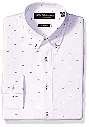 Nick Graham Men's Slim Fit Print Dress Shirt, White Print, 14.5/34-35