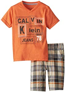 Calvin Klein Boys 2-7 V-Neck Tee with Plaided Short by Calvin Klein