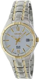 Seiko Men's Solar SNE216 Two-Tone Stainless-Steel Quartz Watch with White Dial
