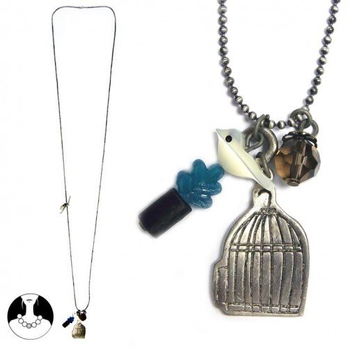 sg paris teenager necklace long necklace 86cm burnish silver metal/enamel/strass