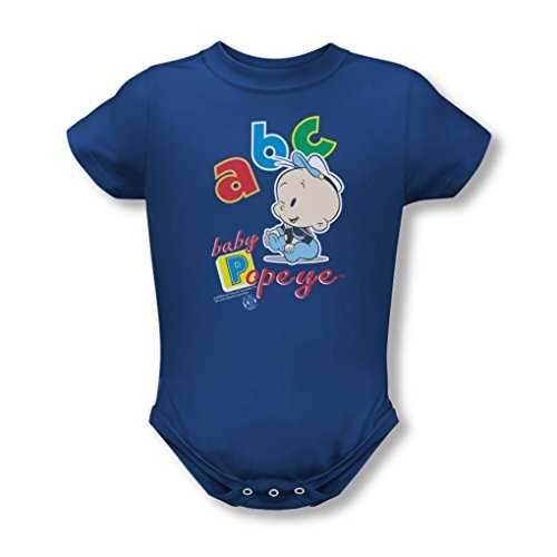 Popeye - Abc Infant T-Shirt In Royal Blue, 0-6 Months, Royal (Baby Popeye)