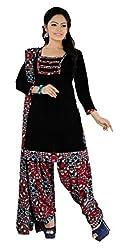 Lovely Look Black Printed Patiyala Dress Material