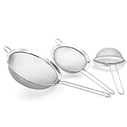 Zicome Set of 3,stainless Steel Strainers,silver Sieves,cooking Strainers,fine Mesh Strainers,food Strainers,colanders and Strainers Set,stainless Steel Sieve - Useful in Home & Kitchen for Small Grains & Seeds - Eat Healthy and Make It Easy to Sift Dry a
