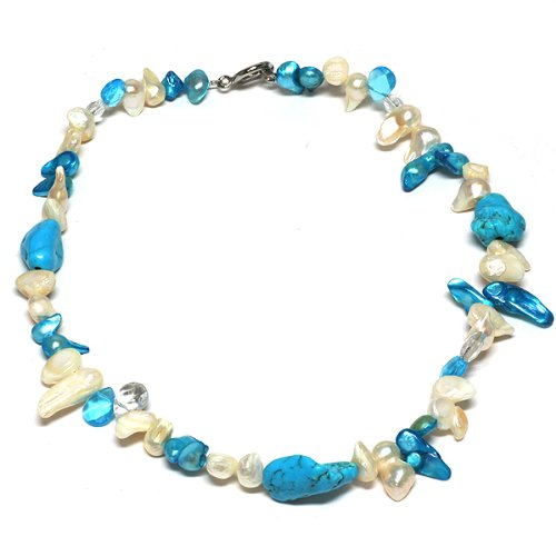 Freshwater Pearl Necklace With Semi Precious Stones Turquoise Howlite 18''