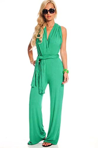 Lolli Couture Low Cut V-Neck Versatile Jumpsuit S Kelly-Green-11703R14 front-992796
