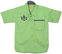 GOWRI MARKETING Boys' Regular Fit Shirt (AM00068_7-8 Years, Green )