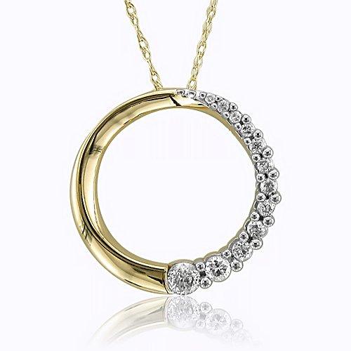 10k Yellow Gold Journey Circle Diamond Pendant Necklace (HI, SI3-I1, 0.25carat)