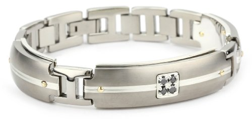 Edward Mirell Men's Grey Titanium Bracelet with Round Black Diamonds, 18k Yellow and Sterling Silver Accents, 8