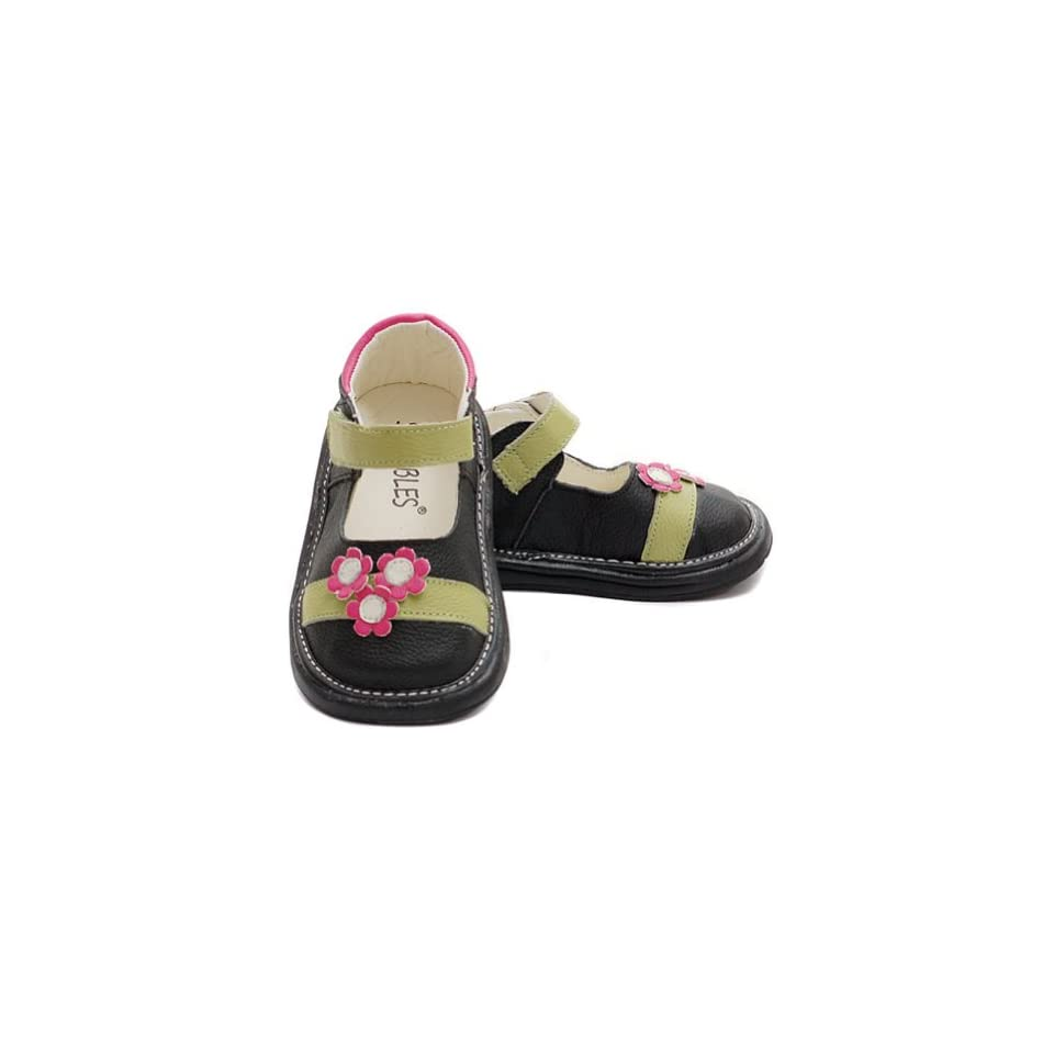 Little Girl Size 12 Black Flower Motif Mary Jane Velcro Shoe