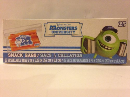 "Disney Pixar Monsters University Snack Bags - One Box 25 Bags (6"" X 3.5"") - 1"