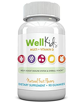 Childrens Multivitamin Combination Supplement - WellKids Multi + Vitamin D Vitamins for Kids - Natural Color & Flavor - Gluten & Preservative Free - Quick Dissolving Chewable Gummy - Prevent Nutrient Deficiency & Boost Immune Health