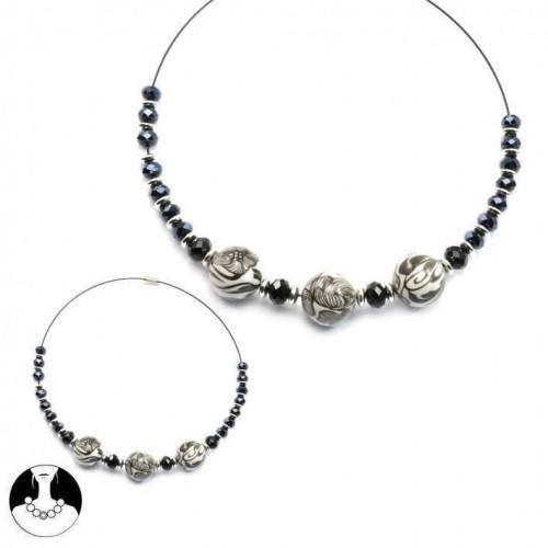 sg paris women necklace choker comb black glass