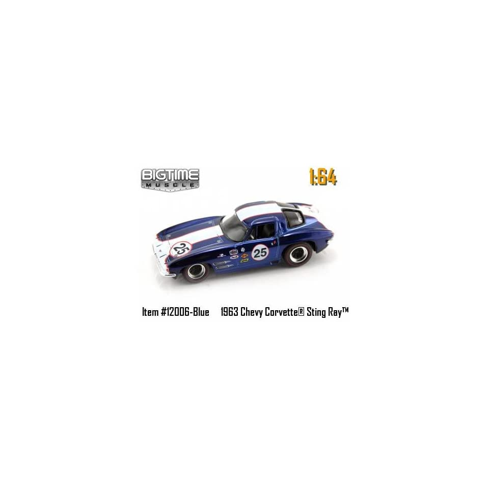 Jada Dub City Big Time Muscle Blue & White Racing 1963 Chevy Corvette Sting Ray 164 Scale Die Cast Car