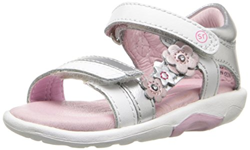 Stride Rite SRT Neila Sandal (Toddler), White/Silver, 8 M US Toddler