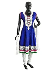 White Parsi Embroidered Neckline on Dark Blue Self Design Cotton Anarkali Kurta with White Churidar and Chunni...