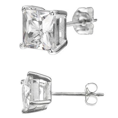 .925 Sterling Silver Square Cz Stud Prong Basket Set Earring (3,4,5,6,7,8mm); Comes with Free Gift Box (5mm)