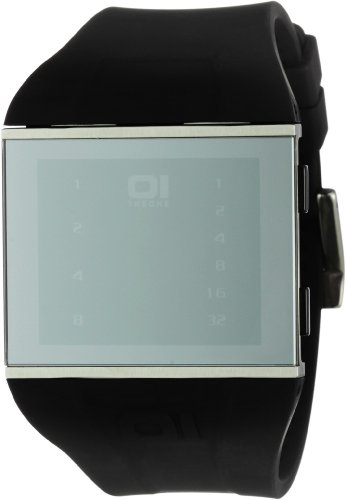 THE-ONE-Slim-Square-SLS113B3-Mens-Black-Silicone-Strap-Watch