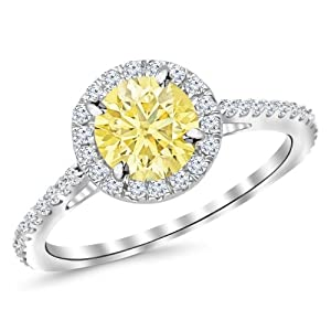 1.4 Carat 14K White Gold Classic Round Halo Diamond Engagement Ring w/ 1 Carat yellow diamond