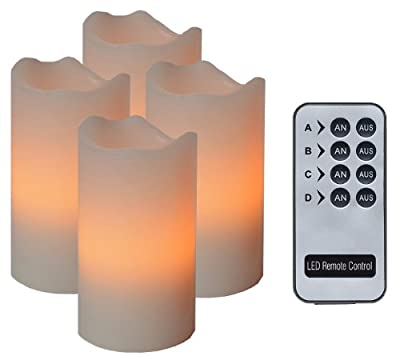Star 067-13 10 x 16 cm Flickering/ Steady Light 4-Piece Solely Controllable LED Wax Candles with Remote Control includes Batteries, Ivory from Best Season