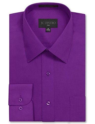 Mens Regular Fit Dress Shirt w/ Reversible Cuff 2XL 18-18.5N-34/35S PURPLE