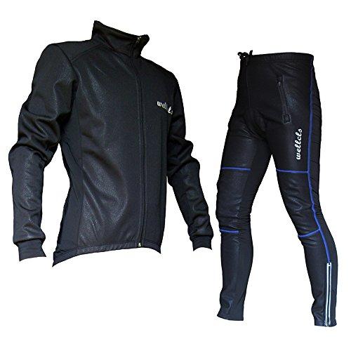 Wellcls 冬用サイクルジャケット 上下セット 防風 ウインドブレーク 自転車 サイクリング (黒×青, XL)