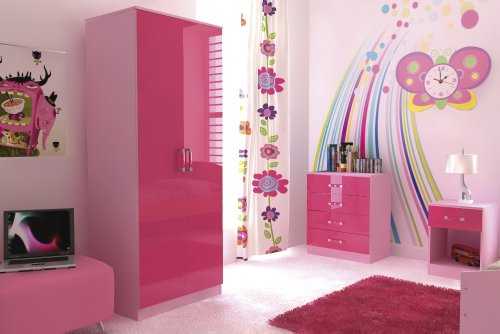 Ottowa Pink Ultra High Gloss Two Tone 3 Piece Trio Bedroom Wardrobe, Bedside, Chest of Darwers