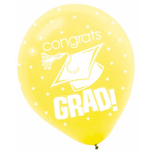 Congrats Grad Yellow with Stars Graduation Latex Balloons