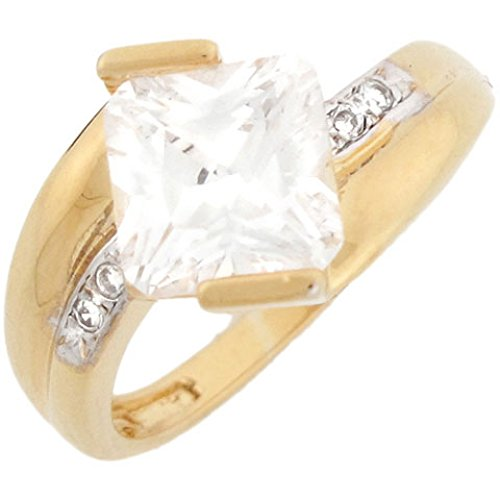 14K Yellow Gold Square Cz Engagement Ring With Round Cut Pave Accents