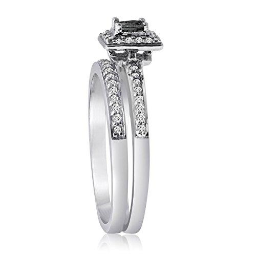 Carbonado ♦♦♦ 10K Gold 1 2CTTW Black and White Diamond Halo Bridal Ring Set