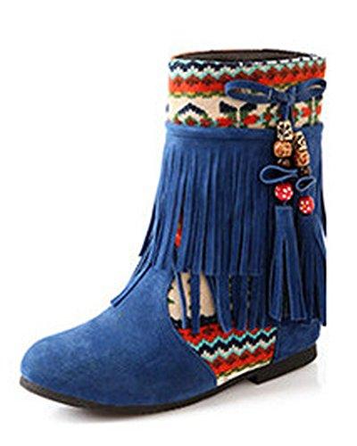 Minetom Donna Inverno Tassel Neve Stivali Snow Boots Stivali Cavaliere Antiscivolo Scarpe Blu EU 39