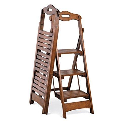 3-step Wood Folding Ladder Stool Walnut Finish 48″