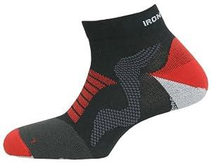 Spenco Ironman Pro Running Quarter Sock - Black/Red, Size 31/2-5