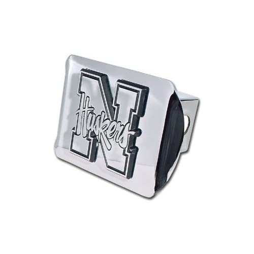 University of Nebraska Cornhuskers Bright Polished Chrome N with Huskers Emblem Metal Trailer Hitch Cover Fits 2 Inch Auto Car Truck Receiverwith NCAA College Sports Logo