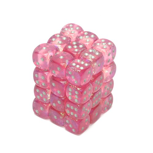 Chessex Dice d6 Sets: Borealis Pink with Silver - 12mm Six Sided Die (36) Block of Dice